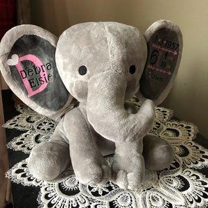 Birth announcement plush 10 inch elephant.